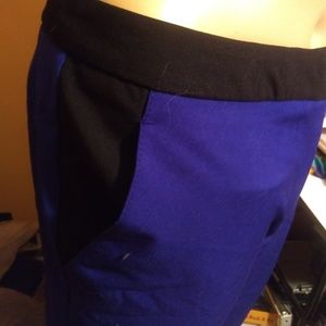 Worthington royal blue and black color block pants